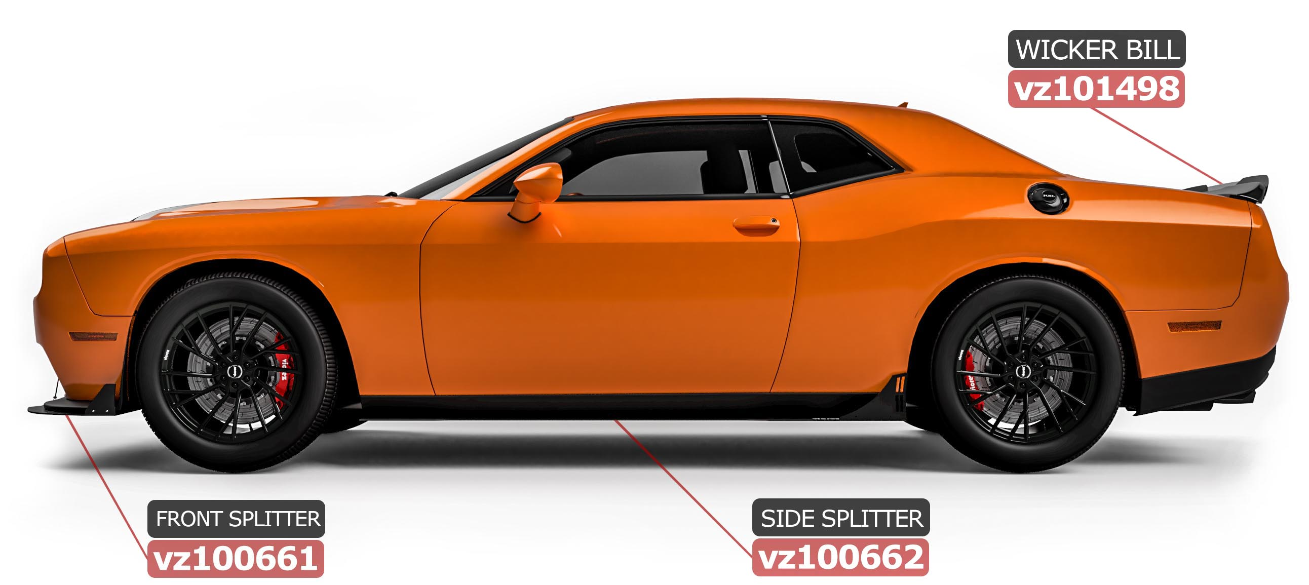 Vicrez VZ Style Front Bumper Splitter vz102324   Dodge Challenger GT, R/T, SXT 2015-2021
